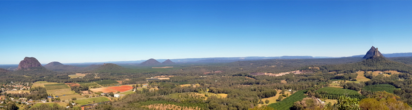 Glass House Mountains panorama