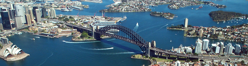 panorama of Sydney from helicopter