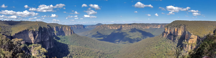 panorama on Great Blue Mountains Canyon